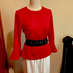 ANN TAYLOR fitted top bell-sleeve polyester crepe